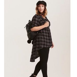 Torrid black grey check challis hi low tunic 3X
